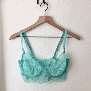 free people teal lace bra bralette 36dd new